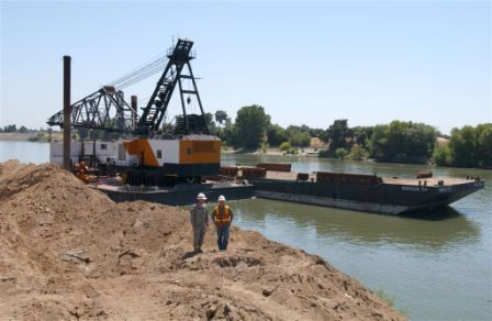 Work on a levee in the Sacramento District.