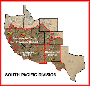 South Pacific Division Locations - Us corps of engineers maps